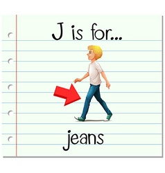 Flashcard letter j is for jeans vector