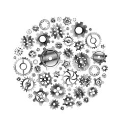 Glossy metal cogwheels arranged in a circle shape vector