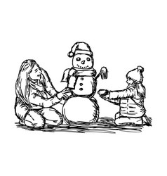 happy mother and her daughter building snowman vector image vector image