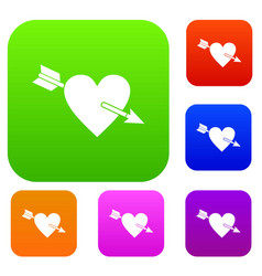 heart with arrow set color collection vector image