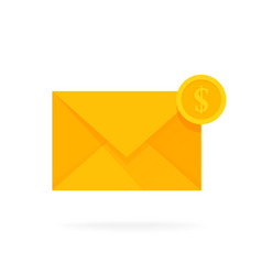 mail envelope icon with dollar coins email send vector image vector image