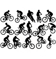 mountain biker silhouettes vector image vector image