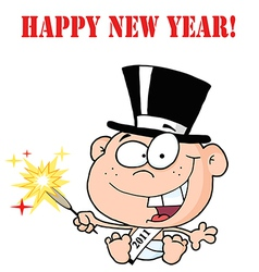 New years baby cartoon vector image vector image