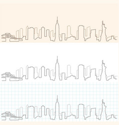 New york hand drawn skyline vector