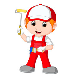 painter with brush and roller vector image vector image