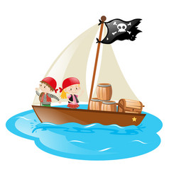 Pirates sailing at sea vector