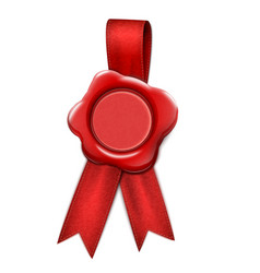 Realistic Wax Seal With Ribbons vector image vector image