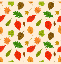 seamless pattern with autumn outline leaves of vector image vector image