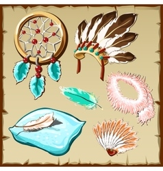 Set of feathers dream catcher pillow and other vector