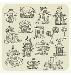 Set of sketch cartoon houses vector image