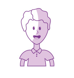 Silhouette cute man with hairstyle and t-shirt vector