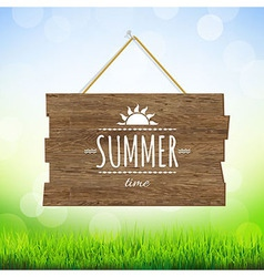 Summer time wood board vector