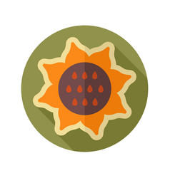 sunflower flat icon vegetable vector image vector image