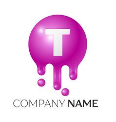 T letter splash logo purple dots and bubbles vector