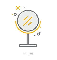 Thin line icons Mirror vector image