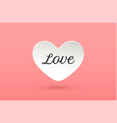 white paper heart with lettering love vector image