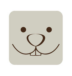 White square rabbit animal face expression vector