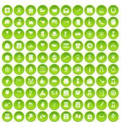 100 calendar icons set green circle vector