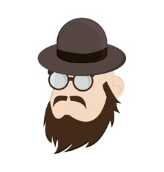 Faceless man head with facial hair and hat icon vector