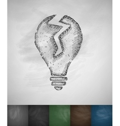 Broken light bulb icon vector