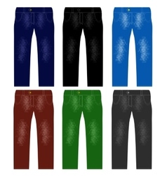 Set of colored jeans fashionable modern denim vector