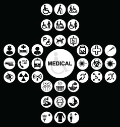 White Medical and health care Icon collection vector image