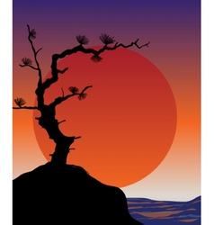 Abstract japanese background - sunset vector