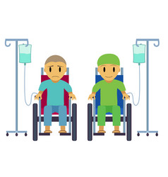 Cancer patient on wheelchair with sad happy face vector