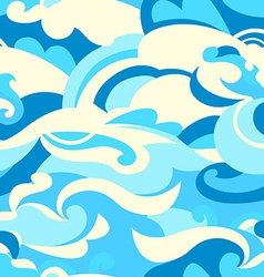 Graphic tropical surf waves in a seamless pattern vector