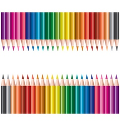 Colored pencils in rows vector