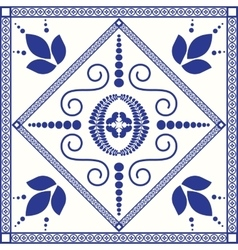 Mediterranean traditional blue and white tile vector