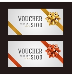 Voucher template with ribbon and bow vector