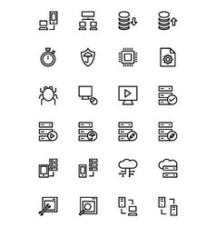 Database and server line icons 4 vector