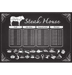 Steak house menu on chalkboard vector