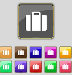 Suitcase icon sign set with eleven colored buttons vector
