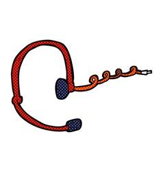 comic cartoon call center headset vector image