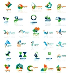 Collection of colorful abstract origami logos vector