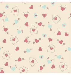 Seamless hearts pattern retro texture pink and min vector