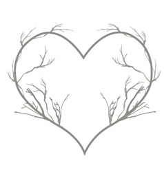 Dry twigs in a heart shape border vector