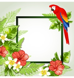 Red tropical flowers and parrot vector image