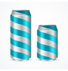 Aluminium Cans with Blue Stripes vector image vector image