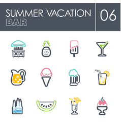 bar beach icon set summer vacation vector image vector image