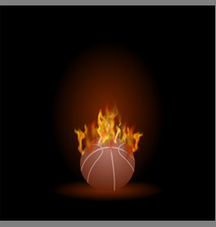 Burning basketball orange ball icon vector