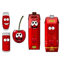Cartoon cherry fruit with juice characters vector