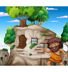 Caveman with axe living in the stonehouse vector