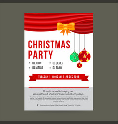 Christmas party invitation card with ribbon and vector