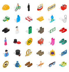Clothes and accessories icons set isometric style vector