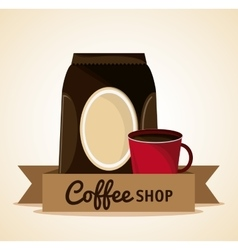 Coffee mug cup bag shop beverage icon vector