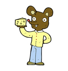 Comic cartoon mouse holding cheese vector