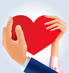 Couple holding heart vector image vector image